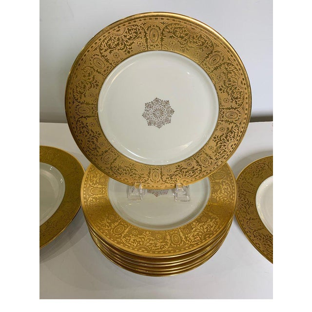 Wide Gold Bordered Service Plates - Set of 12 For Sale - Image 9 of 12