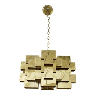1970s Mid Century Modern Jere Signed Cubist Brass Pendant Fixture Chandelier For Sale