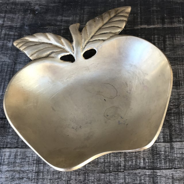 Gold 1960s Figurative Solid Brass Apple Catchall Trinket Dish For Sale - Image 8 of 8