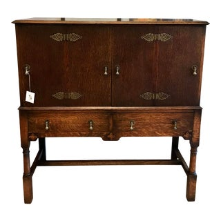 19th Century Antique French Country Tiger Oak Sideboard For Sale