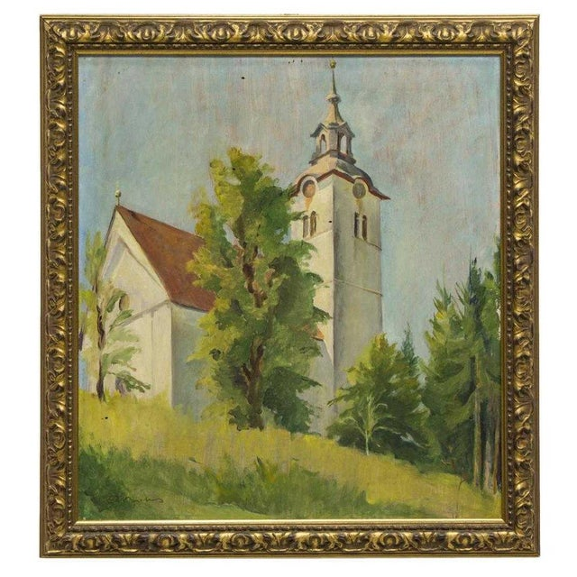 1930s 1930s Vintage French Church Steeple School Oil Painting For Sale - Image 5 of 5