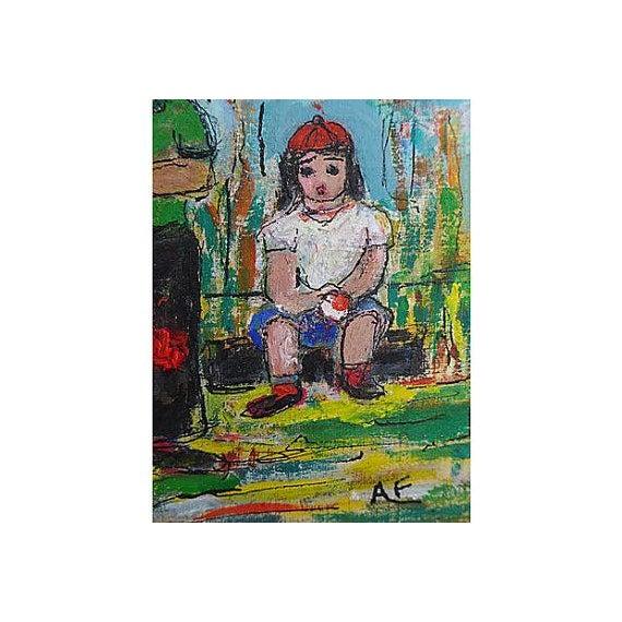 Original Oil Painting on Paper of Sandlot Kids - Image 6 of 6