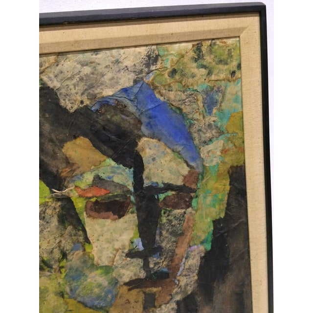 Expressionist Female Portrait Collage Painting - Image 3 of 4