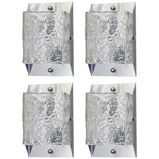 Mazzega Italian Murano Textured Glass Sconces - Set of 4