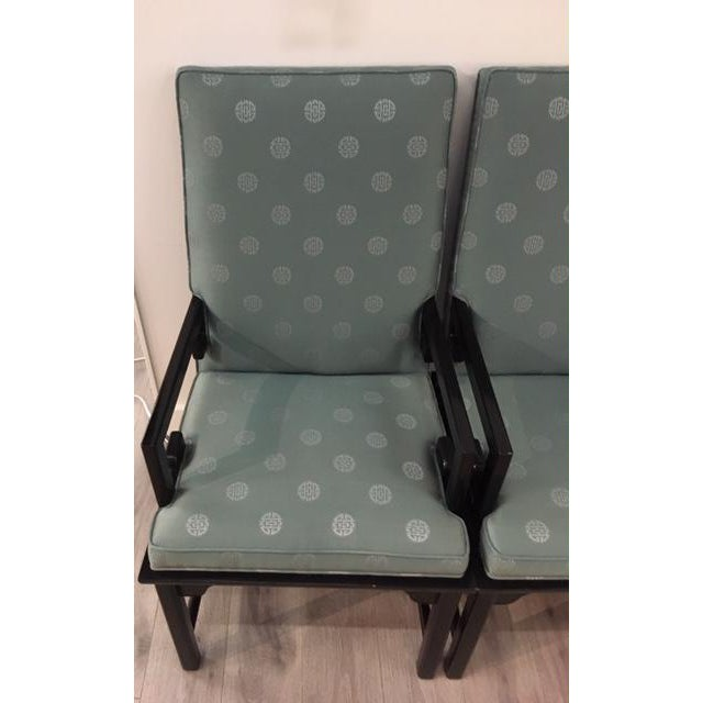 """Pair Asian Style Chairs; black lacquer and """"prosperity"""" style fabric"""