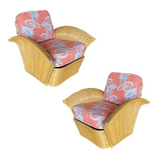 """Restored """"Golden Girls"""" Art Deco Rattan Fan Arm Lounge Chairs - a Pair For Sale"""