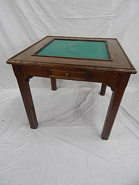 Country Style Game Table, Worm Hole Wood With Green Felt Top   Image 2 Of