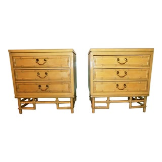 1960s Bauhaus Ficks Reed Faux Bamboo Nightstands - a Pair