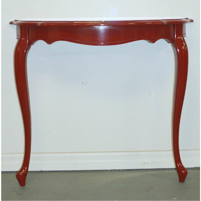 Mid 20th Century Red Demilune Console For Sale - Image 5 of 6