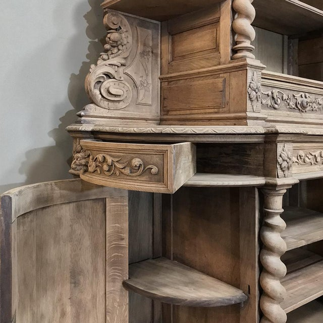 19th Century Renaissance Stripped Oak Hunt Bookcase For Sale - Image 11 of 13