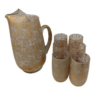 1940s Vintage 22k Gold Bubble Finish Water Pitcher and Water Glass Set - Set of 7 For Sale