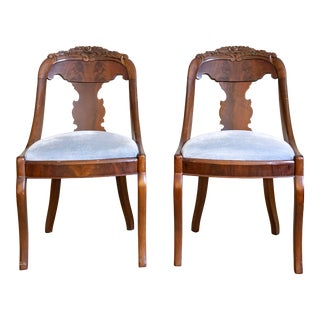 Early 19th Century Francois Seignouret French Empire Gondola Chairs- A Pair For Sale