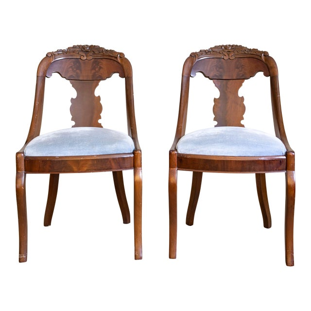 French Empire Gondola Chairs | 19th Century Francois Seignouret | a Pair For Sale