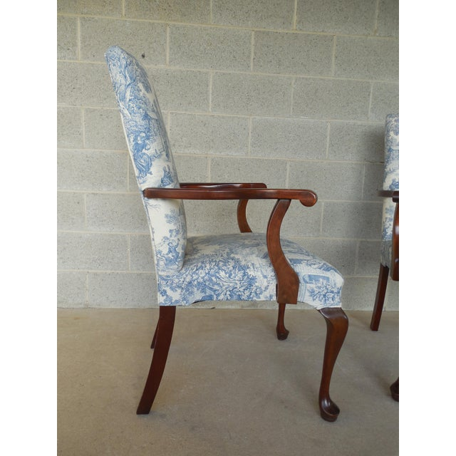Blue Toile Arm Chairs - A Pair - Image 4 of 10