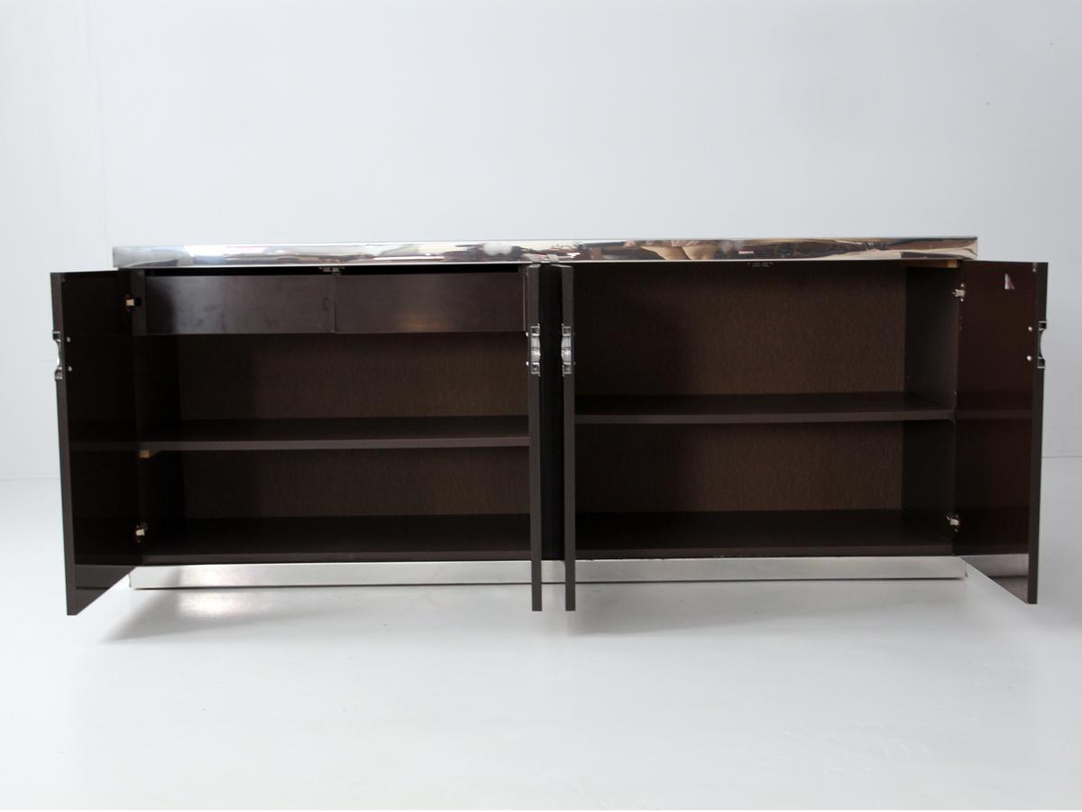Pierre Cardin credenza chocolate won and silver trim