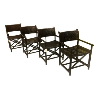 Black Rawhide Dining Chairs - Set of 4 For Sale