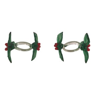 Blown Glass Holiday Napkin Rings - Set of 2 For Sale