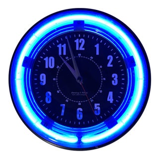 Mid Century Modern Neon Wall Clock For Sale