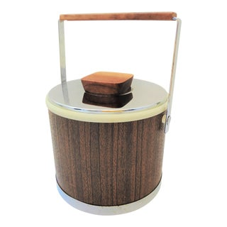 Vintage Mid-Century Kromex Chrome and Faux Bois Ice Bucket For Sale