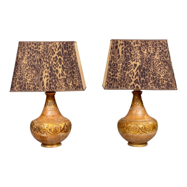 Mid-Century Italian Terra Cotta Lamps With Leopard Print Shades - a Pair For Sale