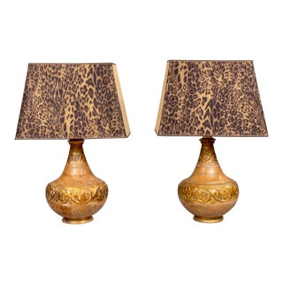Pair Italian Mid Century Terra Cotta Lamps With Leopard Print Shades For Sale