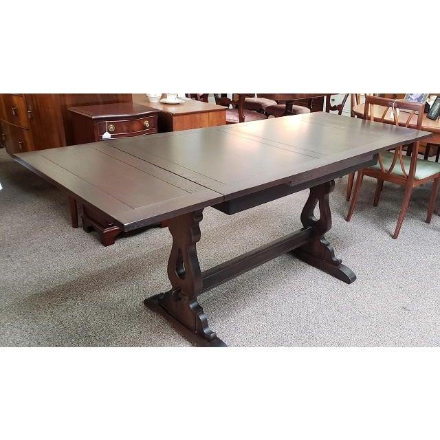 1940s English Oak Trestle Base Draw Leaf Dining Table C.1940 For Sale - Image 5 of 7