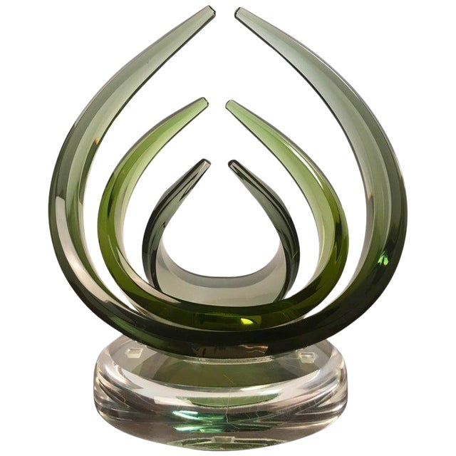 Contemporary Emerald Sculpted Lucite by Shlomi Haziza For Sale