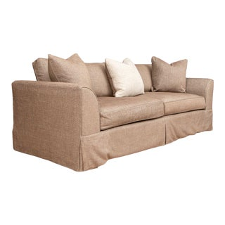 Custom-Made Transitional Four-Seat Sofa With 3 Accent Pillows For Sale