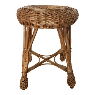 Vintage Style Wicker Stool For Sale