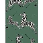 Sample, Scalamandre Zebras, Serengeti Green Wallpaper