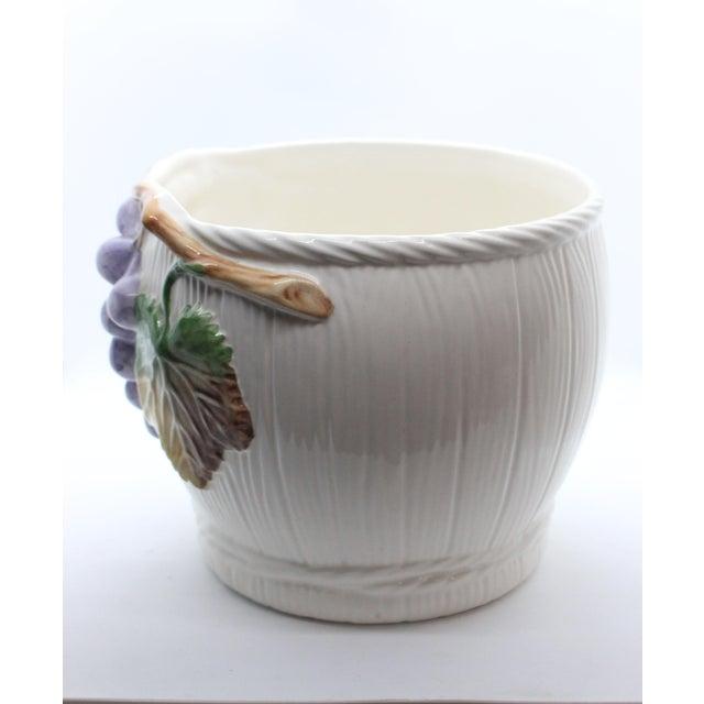 "1950s Majolica Glazed Ceramic Grapevine ""Vineyard"" Cachepot/ Wine Cooler For Sale - Image 5 of 7"