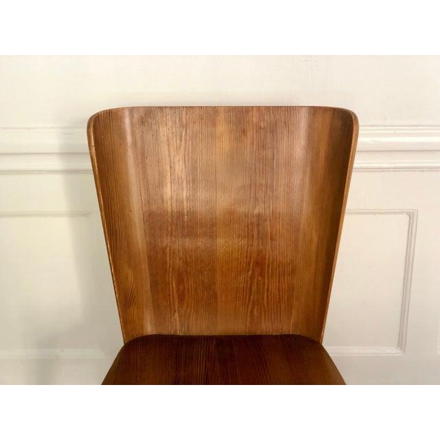 Wood Set of 4 Goran Malmvall Swedish Pine Chairs, Svensk Fur, Sweden, 1940s For Sale - Image 7 of 8