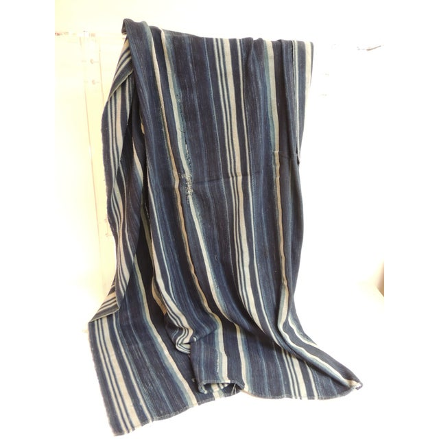 Vintage Yoruba and Baule Warp Ikat Indigo and Light Blue Stripes Cloth For Sale - Image 4 of 5