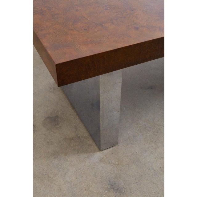 Burlwood Milo Baughman Burl Wood Chrome Extension Dining Table For Sale - Image 7 of 13