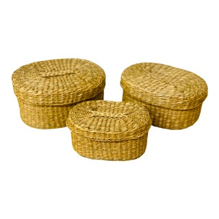 Vintage Bohemian Sea Grass Nesting Boxes - Set of 3 For Sale