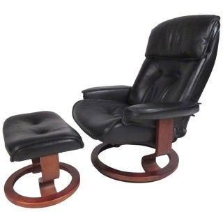 Danish Modern Leather Recliner & Ottoman - A Pair For Sale