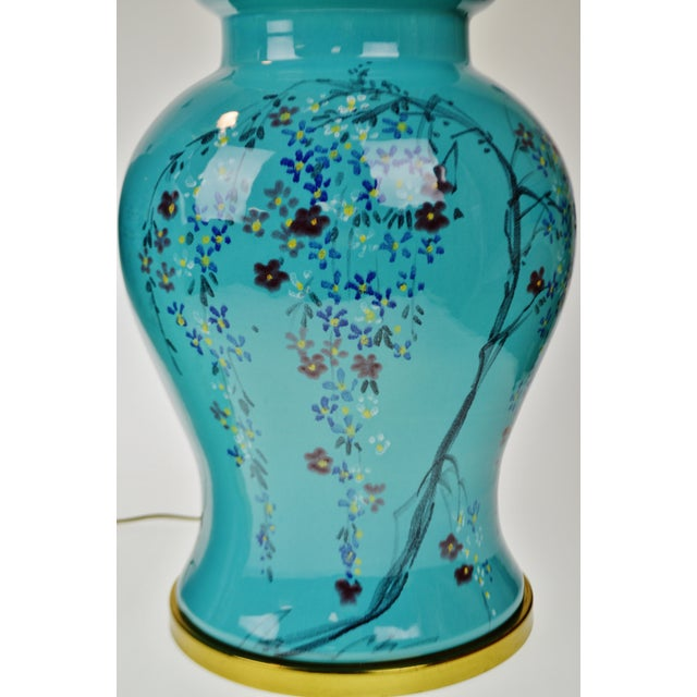 Asian Vintage Large Scale Aquamarine Blue Hand Painted Asian Ginger Jar Lamps - A Pair For Sale - Image 3 of 11