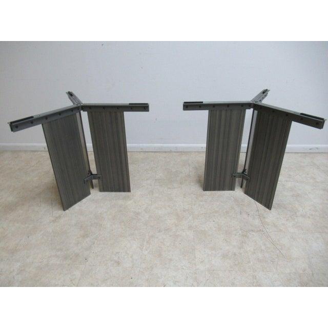Glass Vintage Industrial Steel Pedestal Conference Table For Sale - Image 7 of 10
