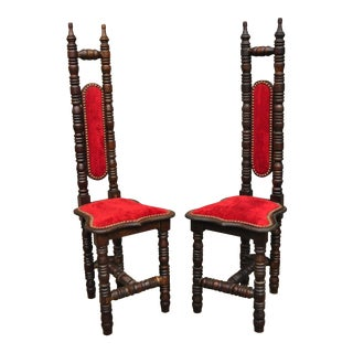 Vintage Spanish Jacobean Renaissance Revival Gothic Red Hall Prayer Chairs - a Pair For Sale