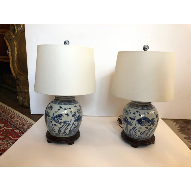 Classic Blue and White Canton Style Ginger Jar Lamps With Carp-A Pair For Sale - Image 11 of 11