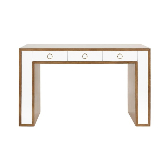 """Beautiful rosewood and white lacquer desk from World's Away with gold hardware. Knee space is 26"""" high. This chic modern..."""