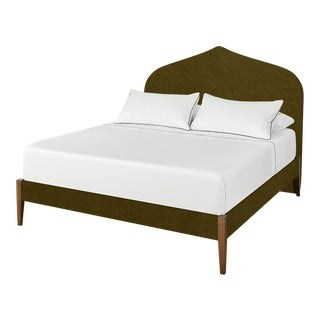 The Crown Bed - King - Charlotte - Luxe Velvet, Olive For Sale