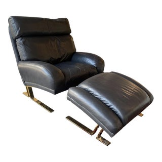 1980s Black Leather Lounge Chair + Ottoman by Directional For Sale