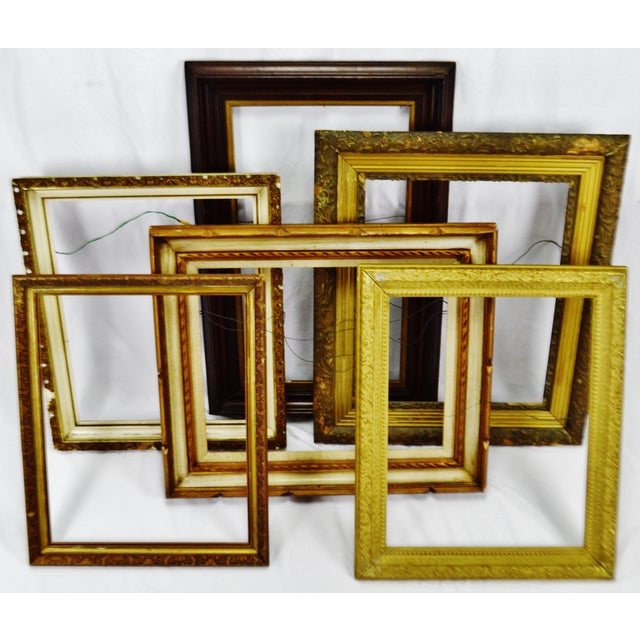 Vintage Medium Sized Wood Picture Frames - Group of 6 For Sale - Image 4 of 13