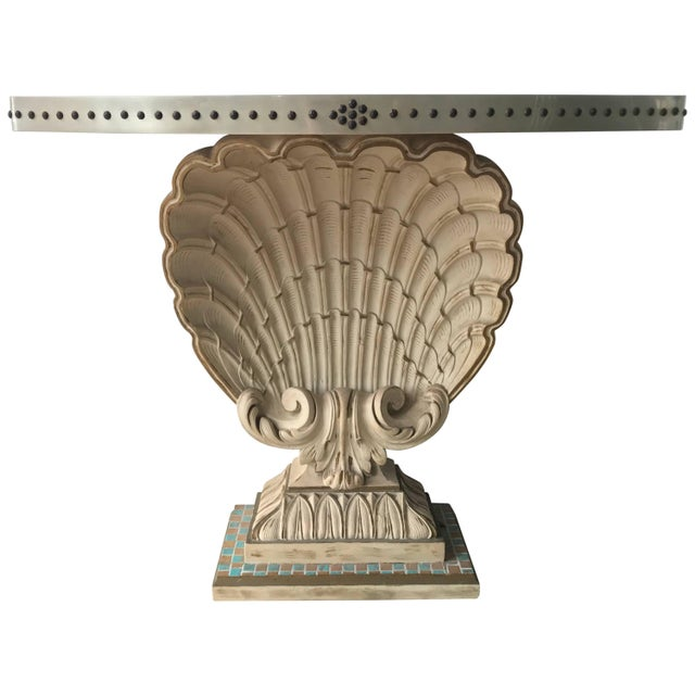 Metal Maison Jansen Shell Demi-Lune Console For Sale - Image 7 of 7