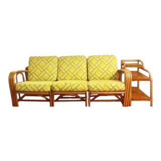 John Wisner for Ficks Reed, 1950s Sofa + 3 Level Side Table - 2 Pieces For Sale