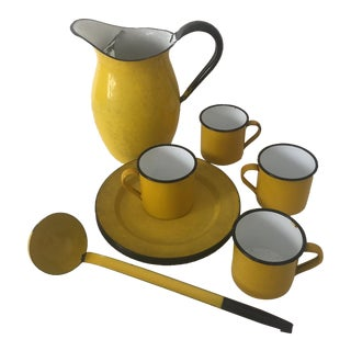 12-Piece Yellow Mid-Century Enamelware Dinnerware For Sale