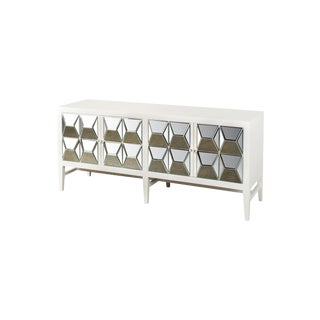 White Wood & Mirrored Glass Spike Sideboard