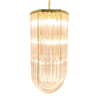 Italian Lucite Chandelier, Triple Tier 'U' Bands, Modern Glam For Sale