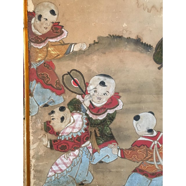 Blue Japanese Edo Period Six Panel Screen: Hotei and Boys, early 19th century For Sale - Image 8 of 8